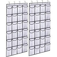 MISSLO Hanging Shoe Storage Organiser Door Tidy with 24 Large Mesh Pockets Shoe Rack hanger,2 Packs