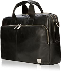 """Knomo Brompton Classic Amesbury, 15"""" Leather Laptop Briefcase, with Adjustable Straps, Suitcase Slip Pocket, RFID Pocket and KNOMO ID, Black"""