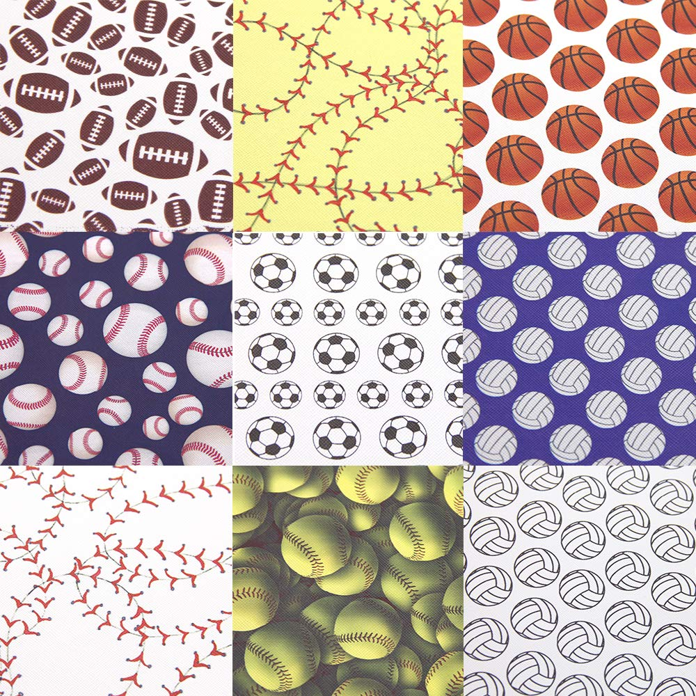 David Angie Ball Football Baseball Volleyball Printed Faux Leather Sheet 9 Pcs Assorted 8'' x 13'' (20 cm x 34 cm) Sports Theme Leather Fabric for Bags Earrings Making DIY Projects (Pattern A) by David Angie (Image #3)
