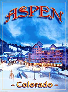 A SLICE IN TIME Aspen Colorado Ski Resort Snow Skiing United States of America Travel Advertisement Poster Print. Measures 10 x 13.5 inches