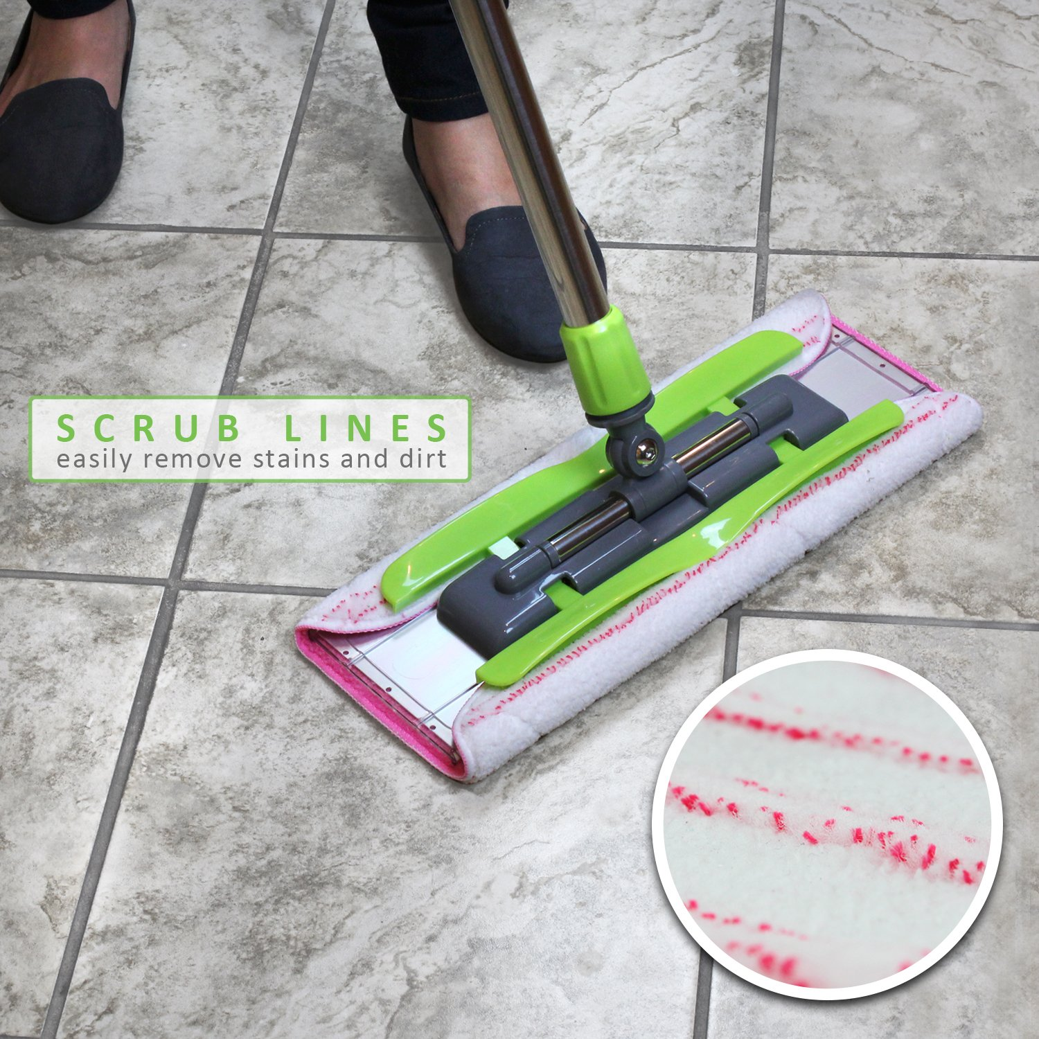 LINKYO Microfiber Hardwood Floor Mop - 3 Reusable Flat Mop Pads and Extension Included, for Wet or Dry Floor Cleaning by LINKYO (Image #2)