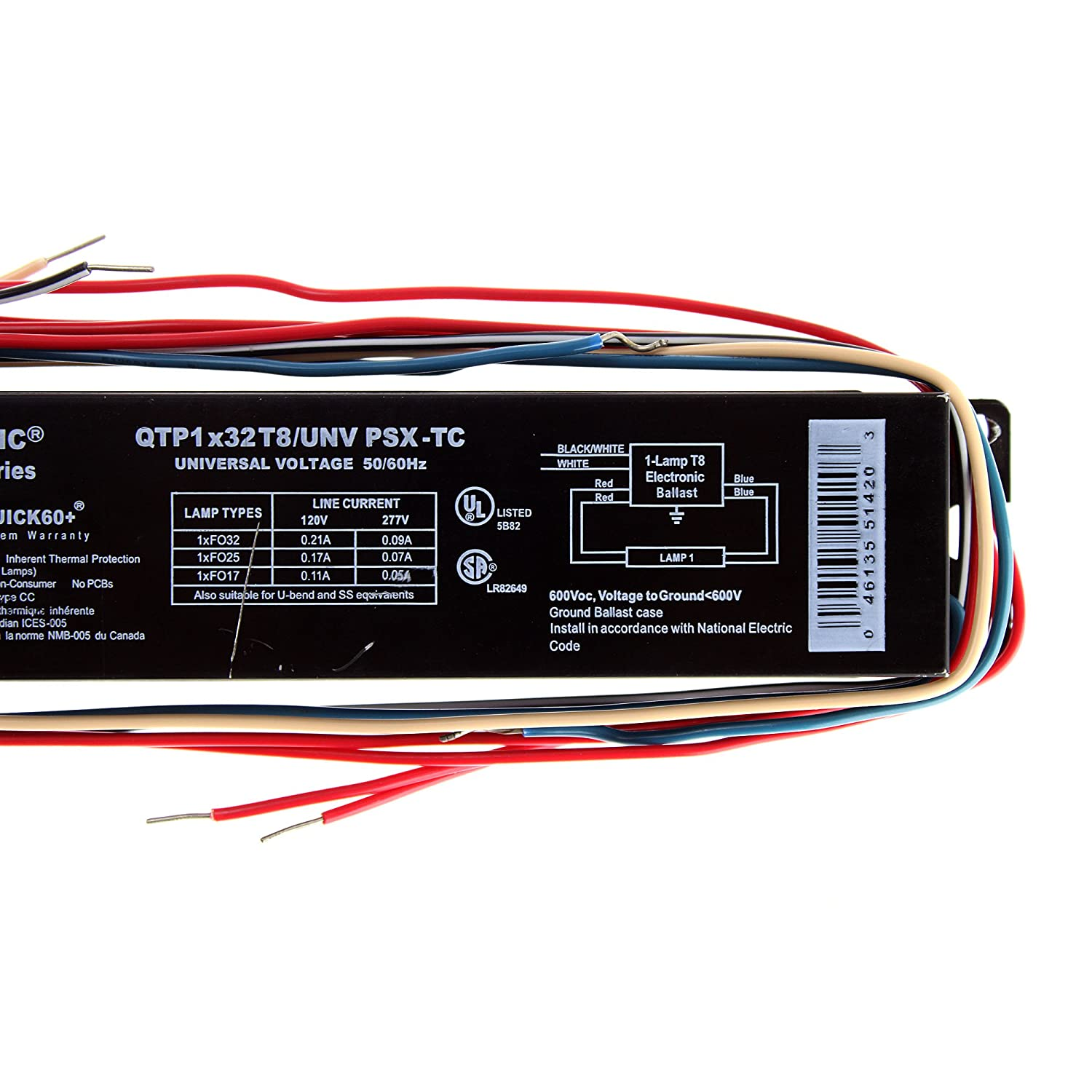 Sylvania Osram Qtp1x32t8 Unv Psx Tc T8 Fluorescent Ballast 1 Lamp Electrical And Electronics For U 120 277v 32w