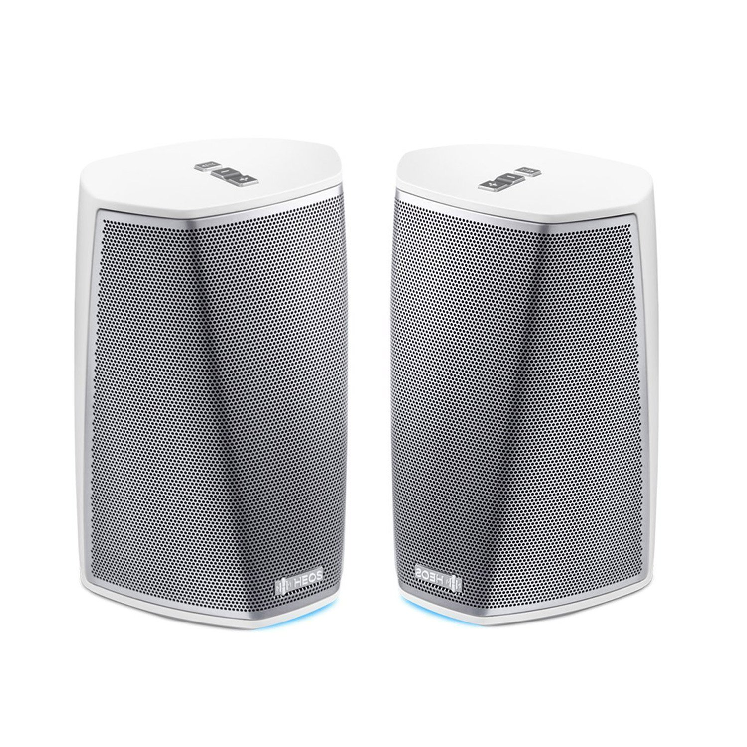 Denon HEOS 1 HS2 WT Compact Portable Wireless Speaker System (Pair) Bundle with WiFi & Bluetooth Wireless Connectivity, Class D Amplifiers & HEOS App in White