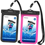 [2 Pack] Universal Waterproof Phone Pouch, MoKo IPX 8 Waterproof Phone Case Dry Bag with Armband & Neck Strap for iPhone X/8 Plus/8/7/6S Plus, Samsung Galaxy S9+/S9, BLU, MOTO - BLACK + MAGENTA