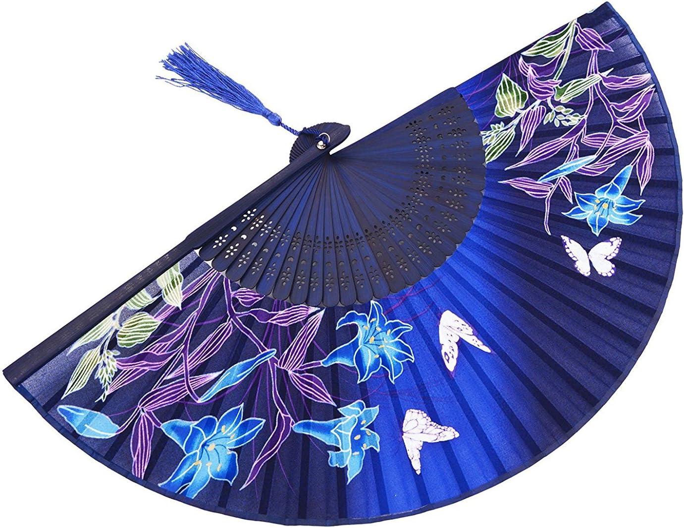 Ventaglio a mano pieghevole cinese giapponese per donna ventaglio di mano in legno di bamb/ù vintage retr/ò stile 8.27 21 cm