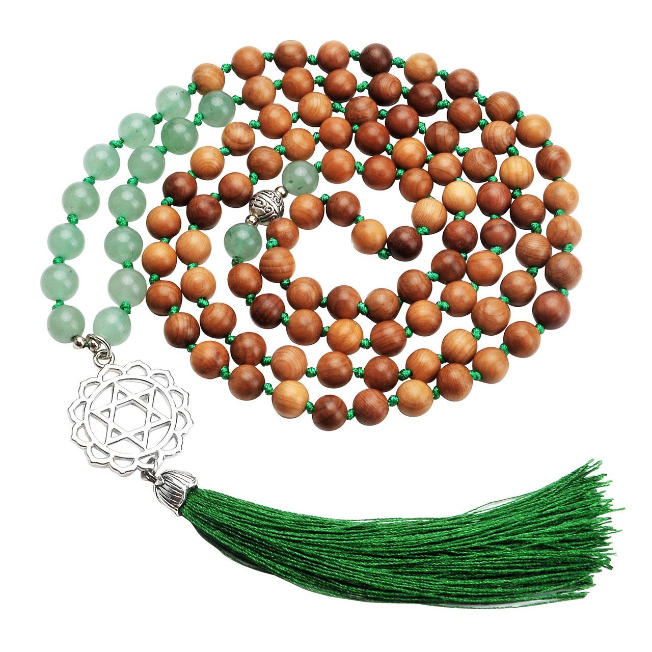Top Plaza 108 Buddha Prayer Wood Beads Tibetan Mala Multilayer 7 Chakra Reiki Healing Energy Crystals Gemstones Loops Bracelet Necklace W/Chakra Tassel Charm(Green Aventurine)