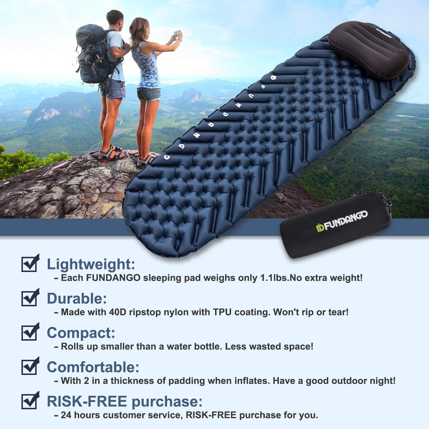 Camping Sleeping Pad,Inflatable Sleeping Mat with Pillow,Portable/&Folding Air Pad Ultralight Compact Sleeping Mattress With Waterproof Carrying Bag for Outdoor Hiking Travel Hammock Tent Backpacking