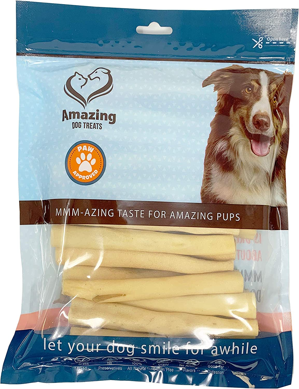 Amazing Dog Treats 6 Inch Cow Tail Dog Chew- Premium Quality – Sourced from Grass Fed Cattle – Long Lasting Dog Chew- Rawhide Alternative