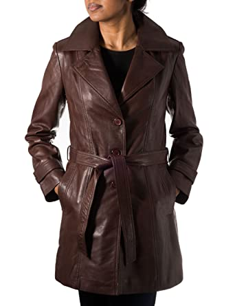 29e195736078 A to Z Leather Ladies Womens Chestnut Brown Real Leather Classic 3 4 Trench  Long Winter Coat with Belt Tie and Back Vent  Amazon.co.uk  Clothing