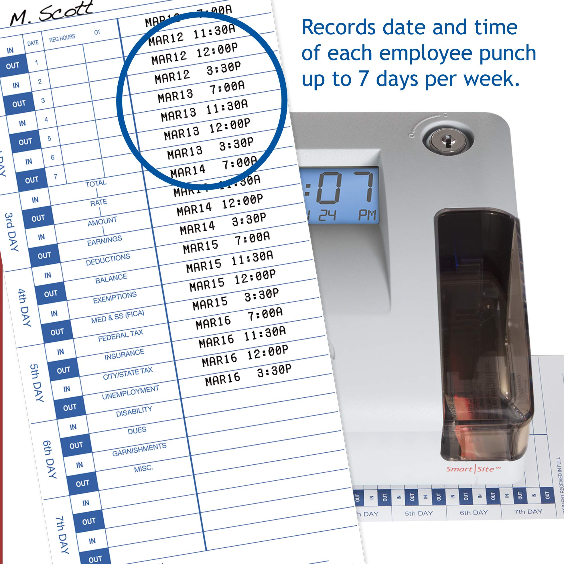 Pyramid 3550ss SmartSite Time Clock and Document Stamp - Made in USA by Pyramid Time Systems (Image #3)
