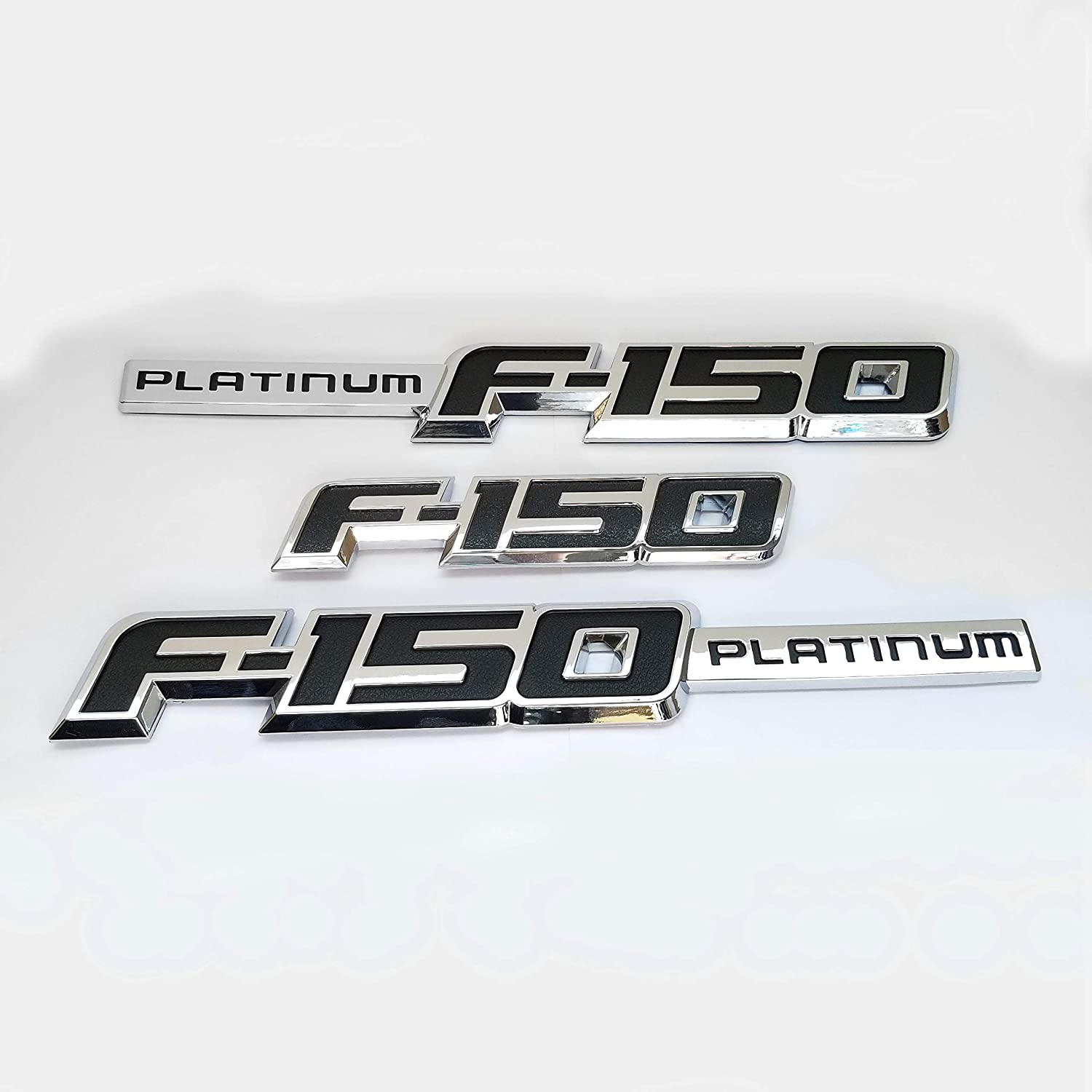 3pcs OEM Chrome Black F-150 Platinum Badge Side Fender F-150 Rear Tailgate Emblem 3D Nameplate Replacement for F150 Origianl Size Genuine Parts