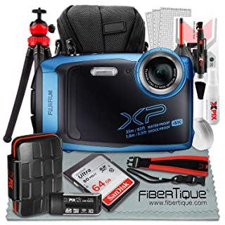 Fujifilm FinePix XP140 Waterproof Wi-Fi Digital Camera (Blue) XP140 + 64GB + Cases + Tripod + Deluxe Accessories Bundle