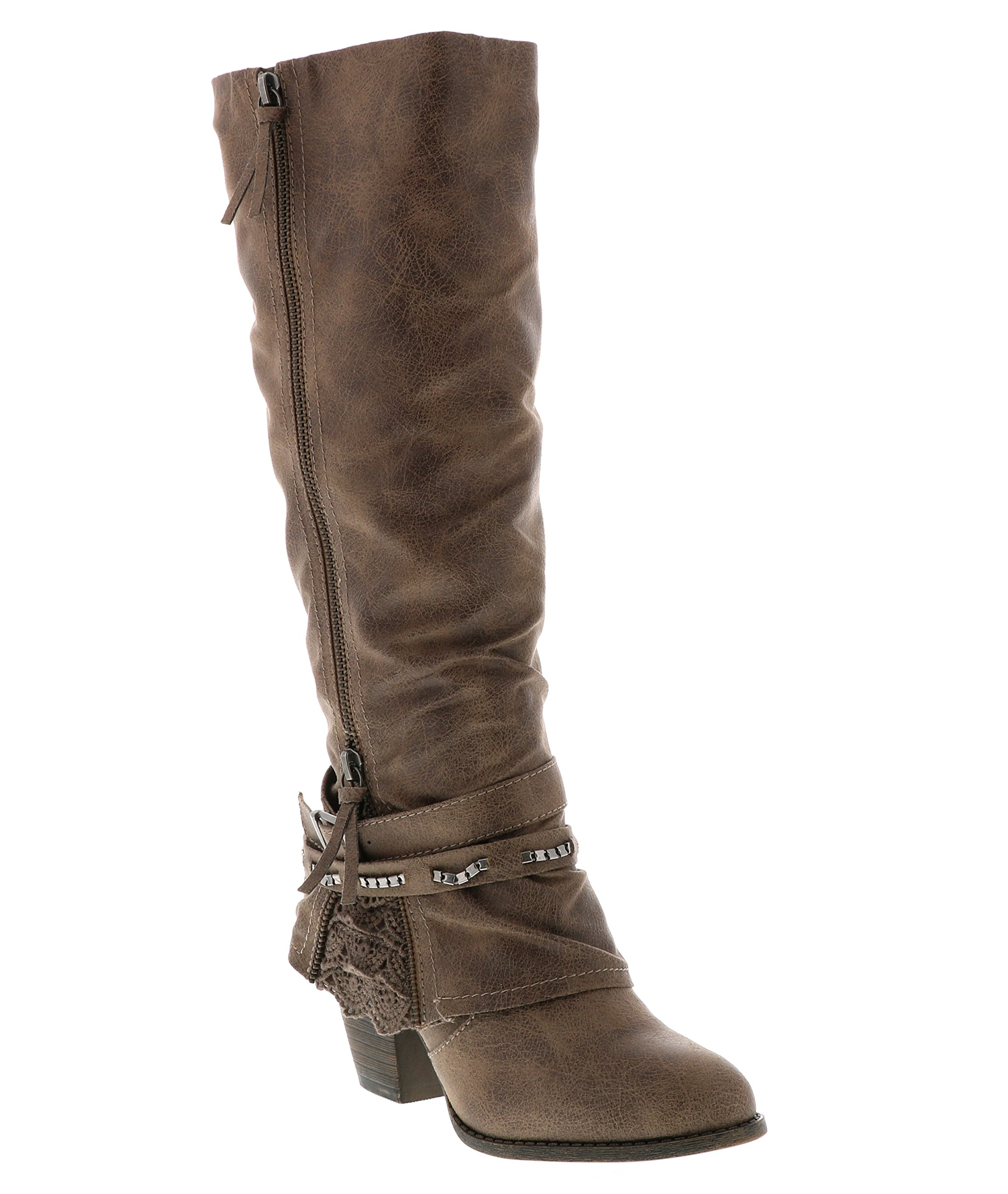 Jellypop Women's Carrly Engineer Boot, Stone Distressed Suede Like, 8 M US