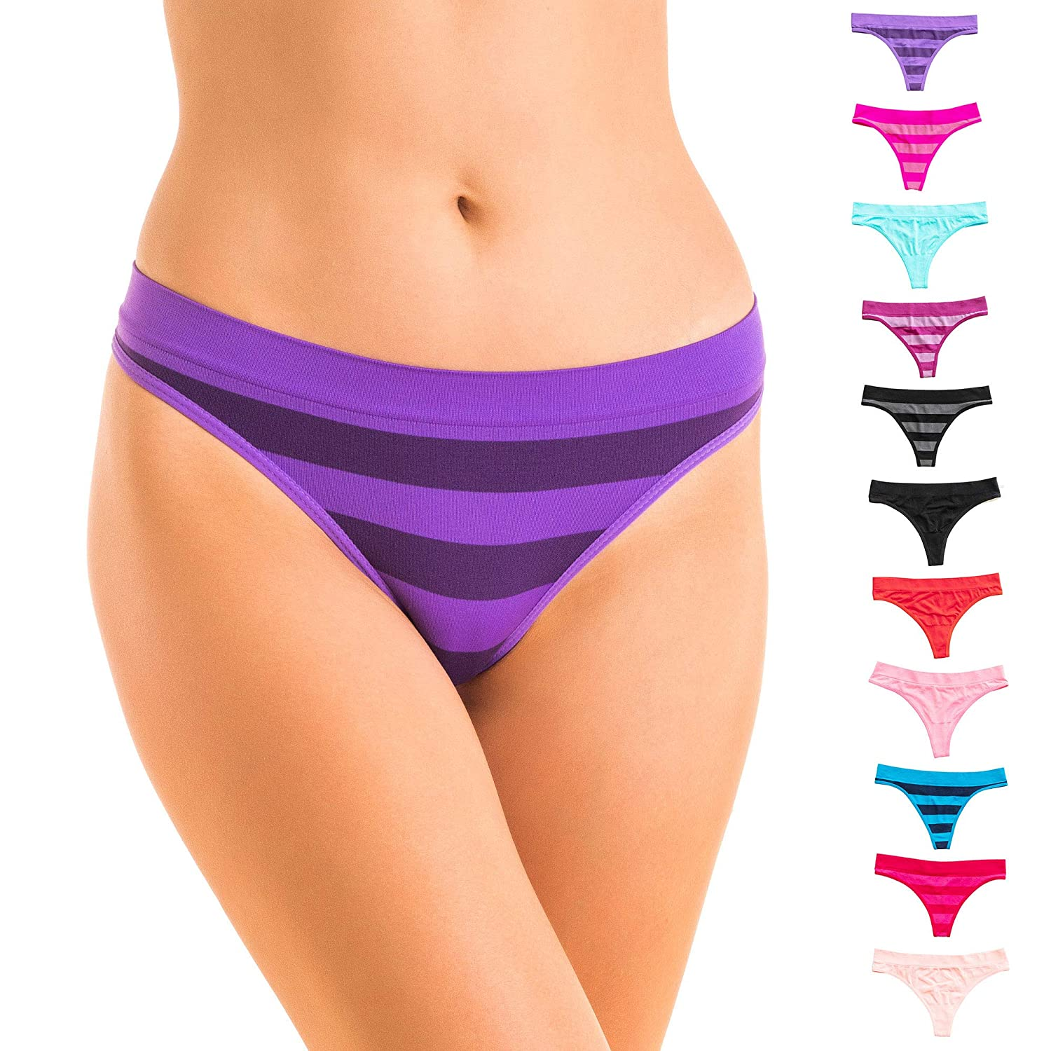 Alyce Ives Intimates Seamless No Show Womens Thong Pack of 12