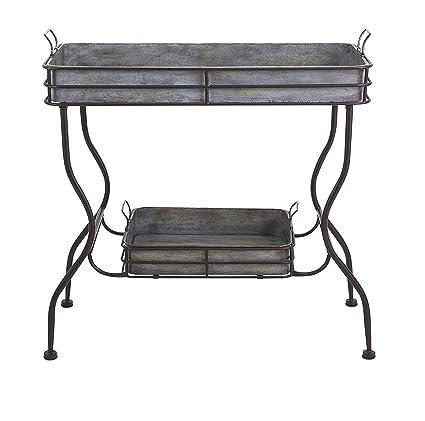 Imax 65361 Maggie Galvanized Tray Table   Unique Accent Table For Garden,  Patio, Porches