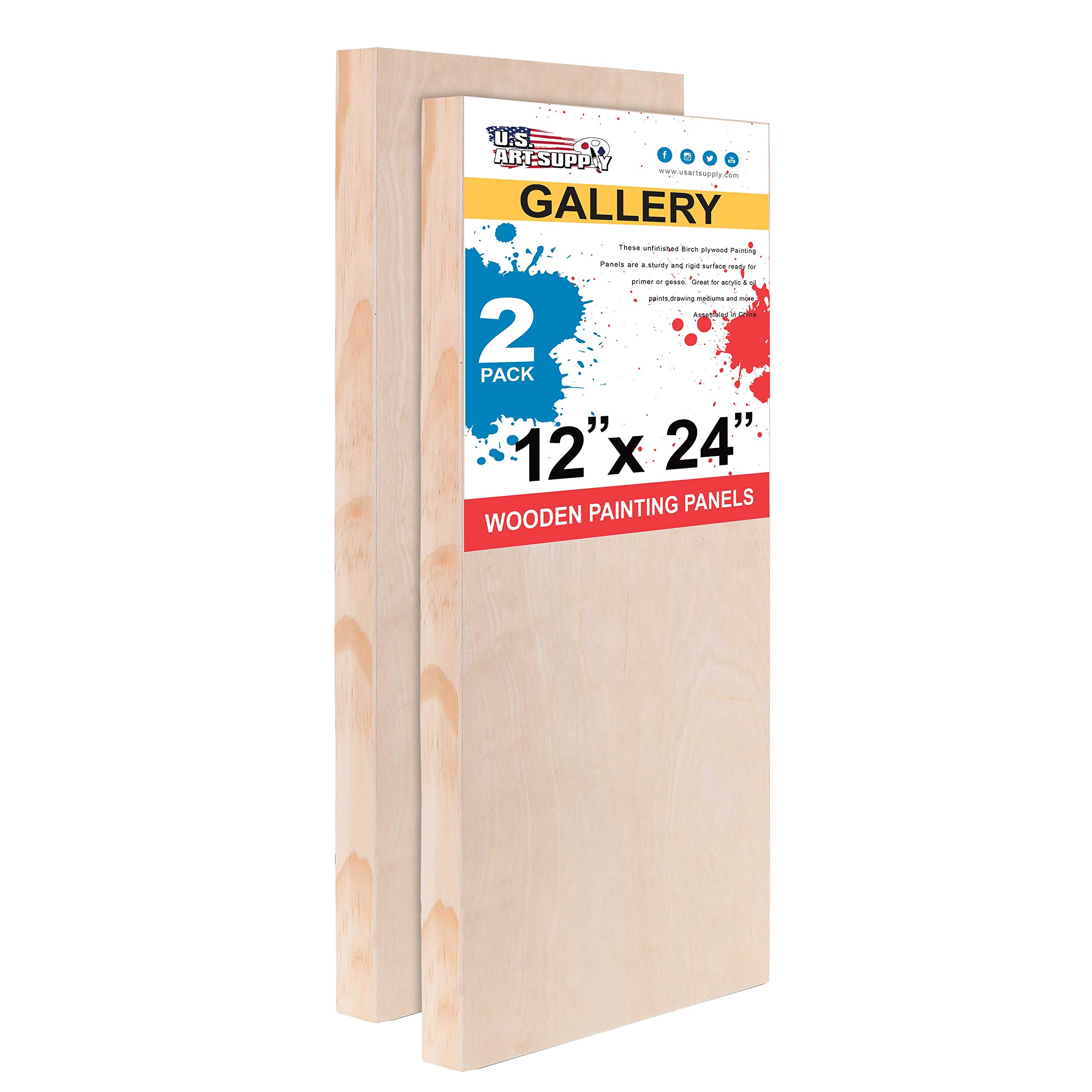 U.S. Art Supply 12'' x 24'' Birch Wood Paint Pouring Panel Boards, Gallery 1-1/2'' Deep Cradle (Pack of 2) - Artist Depth Wooden Wall Canvases - Painting Mixed-Media Craft, Acrylic, Oil, Encaustic by U.S. Art Supply