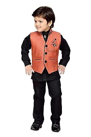 2429fe9a8 AJ Dezines Kids Indian Ethnic Shirt Waistcoat and Pant Set for Boys ...