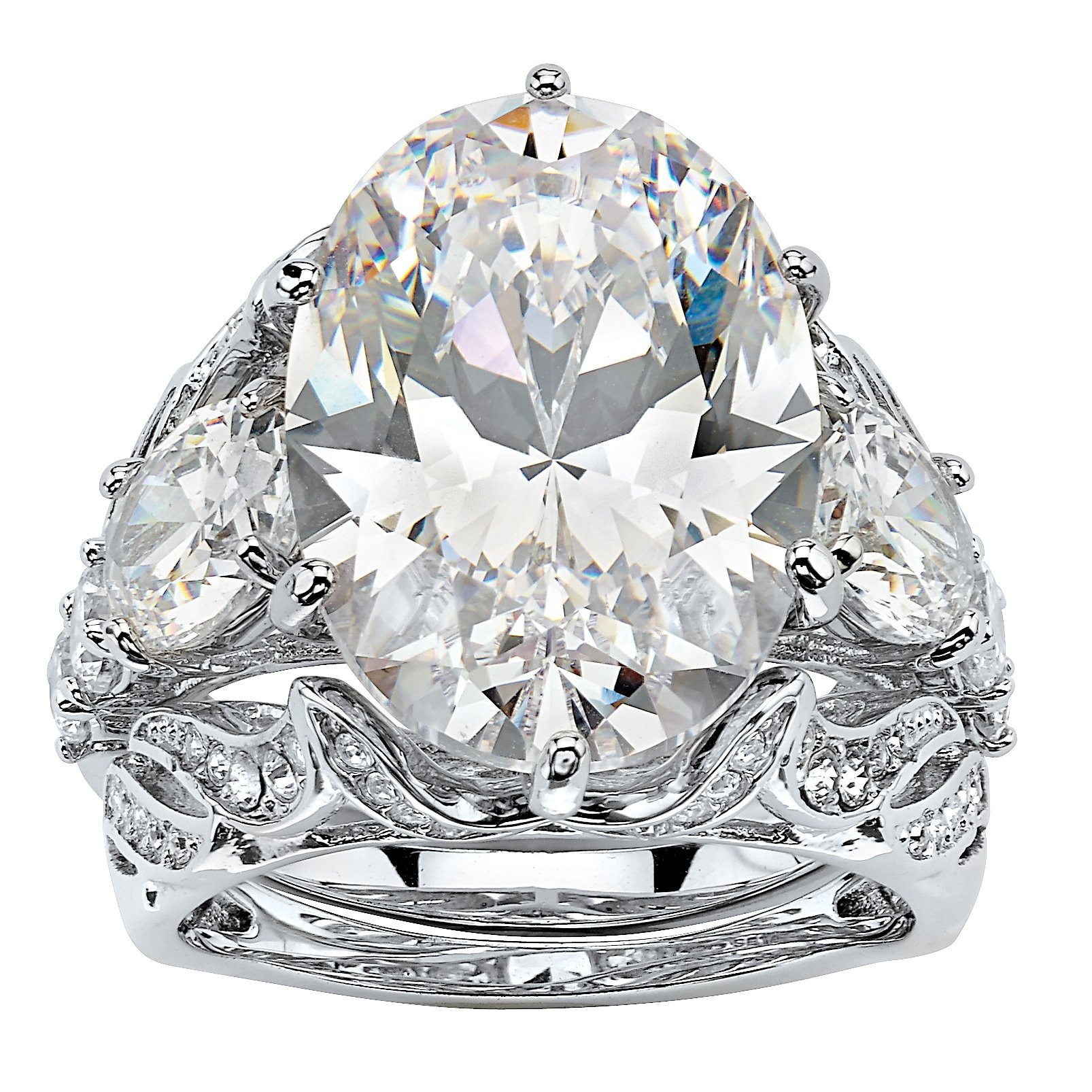 Palm Beach Jewelry Oval-Cut White Cubic Zirconia Platinum-Plated 3-Piece Bridal Ring Set Size 9