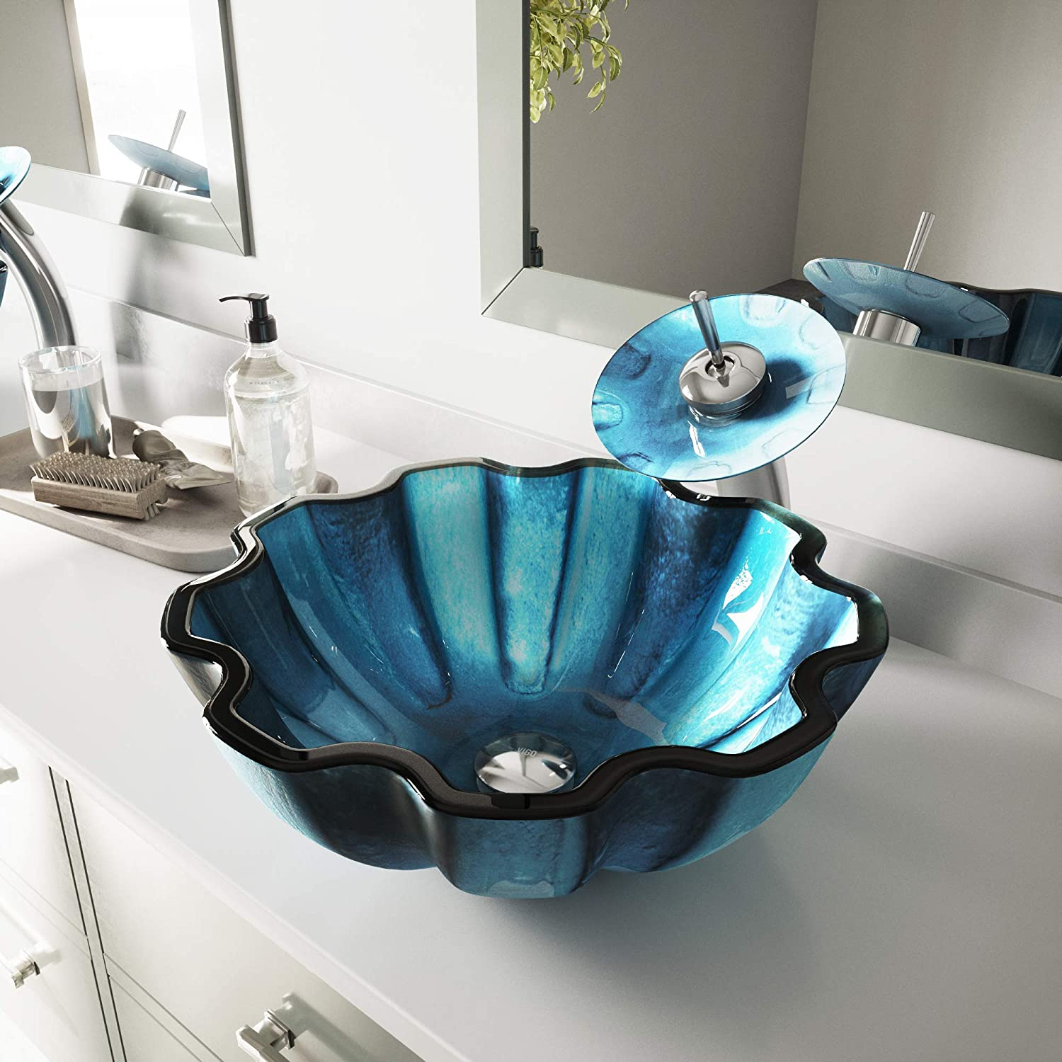 VIGO Mediterranean Seashell Glass Vessel Bathroom Sink and Waterfall Faucet with Pop Up, Chrome