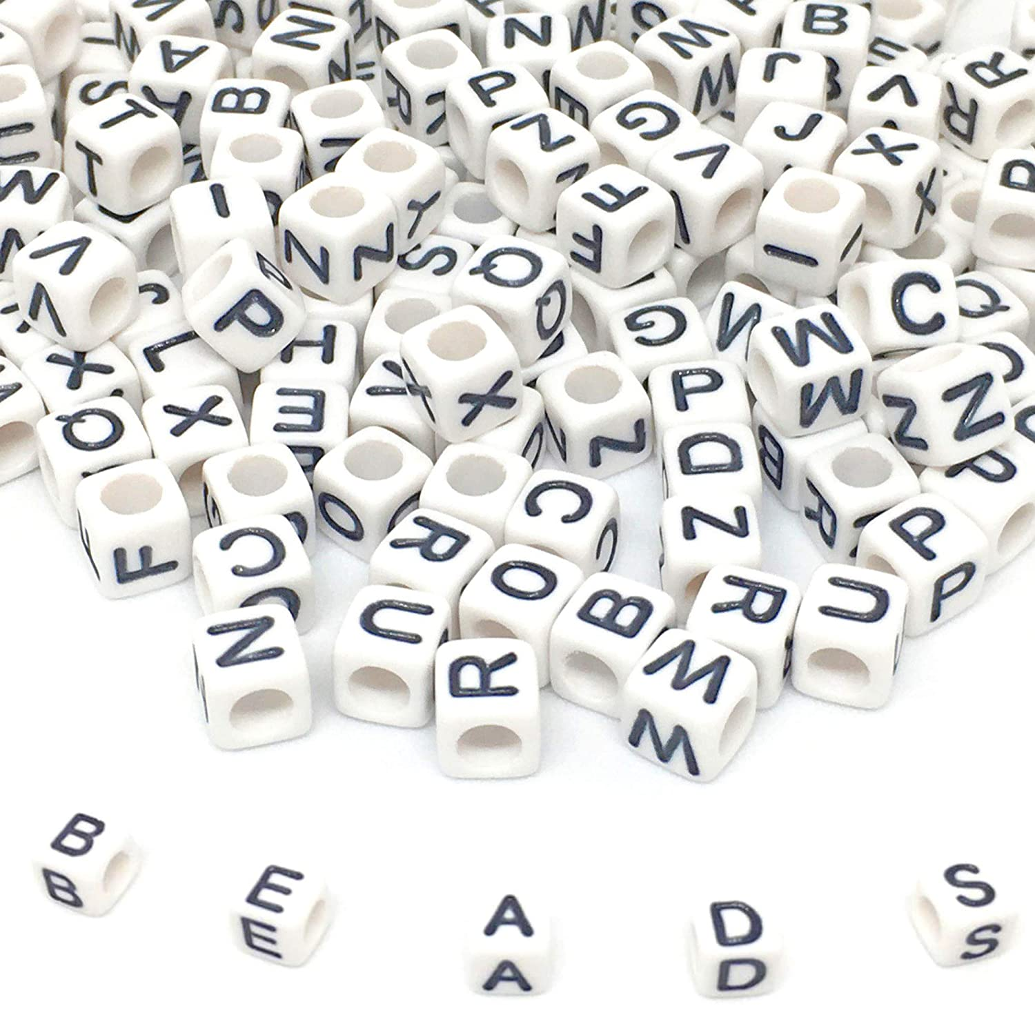 Dummy Clips A-Z Mixed Letters Pony Beads 100 x 6mm WHITE Alphabet Beads