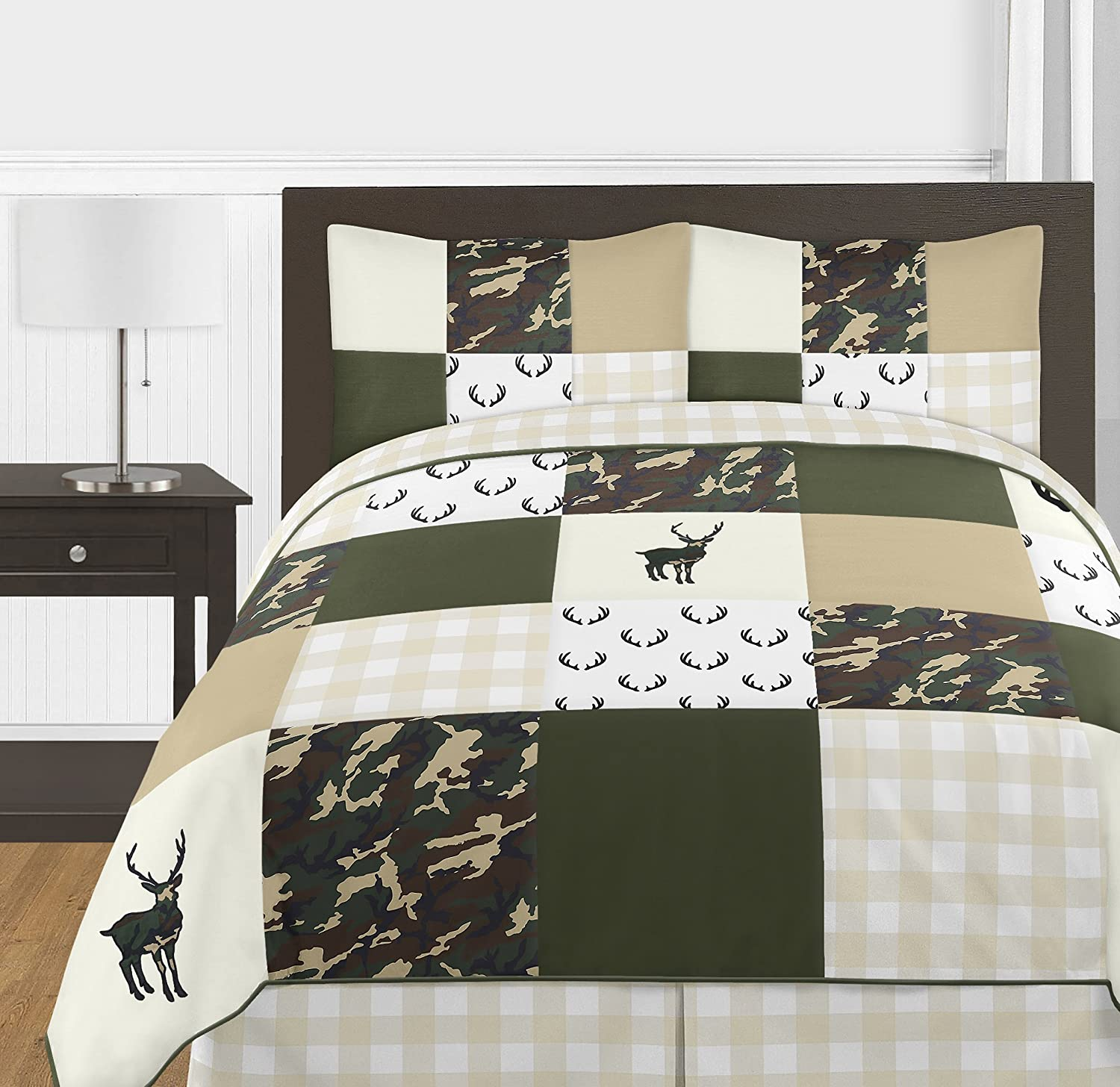 5 Pieces Comforter Sham and Sheets Rustic Camouflage Sweet Jojo Designs Green and Beige Deer Buffalo Plaid Check Woodland Camo Boy Toddler Kid Childrens Bedding Set