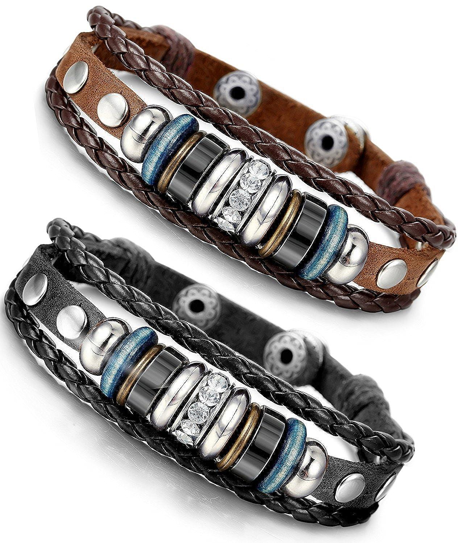 BESTEEL 2PCS Bracelets Cuir pour Homme Femme Bracelet Tissu Corde avec Zirconium Anneaux Ajustable, 18.5-21.5CM B022-2