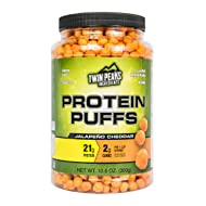 Low Carb Protein Puffs - 21g Protein, 2g Carbs, 120 Cals, Nut Free Baked High Protein Crisps, Keto Friendly, Soy Free, Gluten Free, Potato Free - Best Protein Snack (Jalape–o Cheddar, 300g/10 Servings