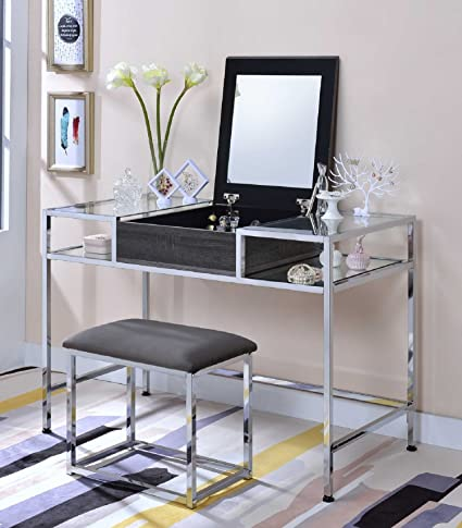 Amazoncom Major Q Gray Oak And Chrome Flip Up Mirror Vanity Set