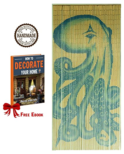 Fine Tachilc Bamboo Door Bead Curtain Wall Art Window Treatment Room Divider Octopus Download Free Architecture Designs Itiscsunscenecom