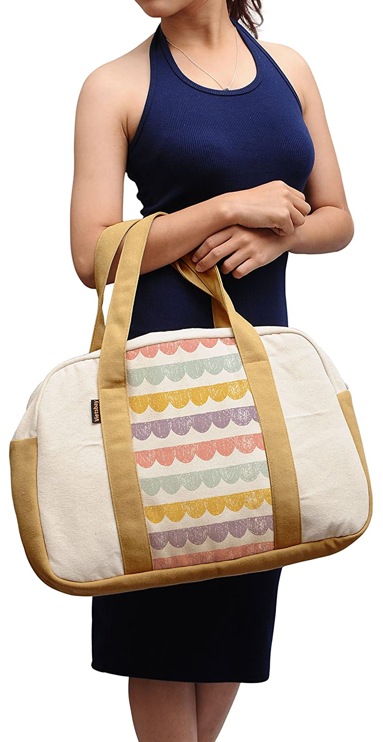 Womens Pastel Geometrical Style Printed Canvas Duffel Travel Bags WAS/_19