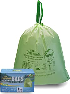 UNNI 100% Compostable Drawstring Trash Bags, 6-8 Gallon, 23-30 Liter, 45 Count, Heavy Duty 1 Mils, Medium Home Garbage Liners, US BPI and Europe OK Compost Certified, Earth Friendly Highest ASTM D6400