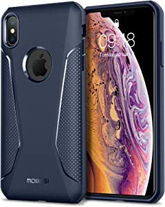 MOBOSI Net Series iPhone Xs Max Case 6.5 inch (2018),Slim Lightweight Shockproof Drop Protection Hybrid Matte Soft Phone Cover for iPhone 10xs Max, Blue