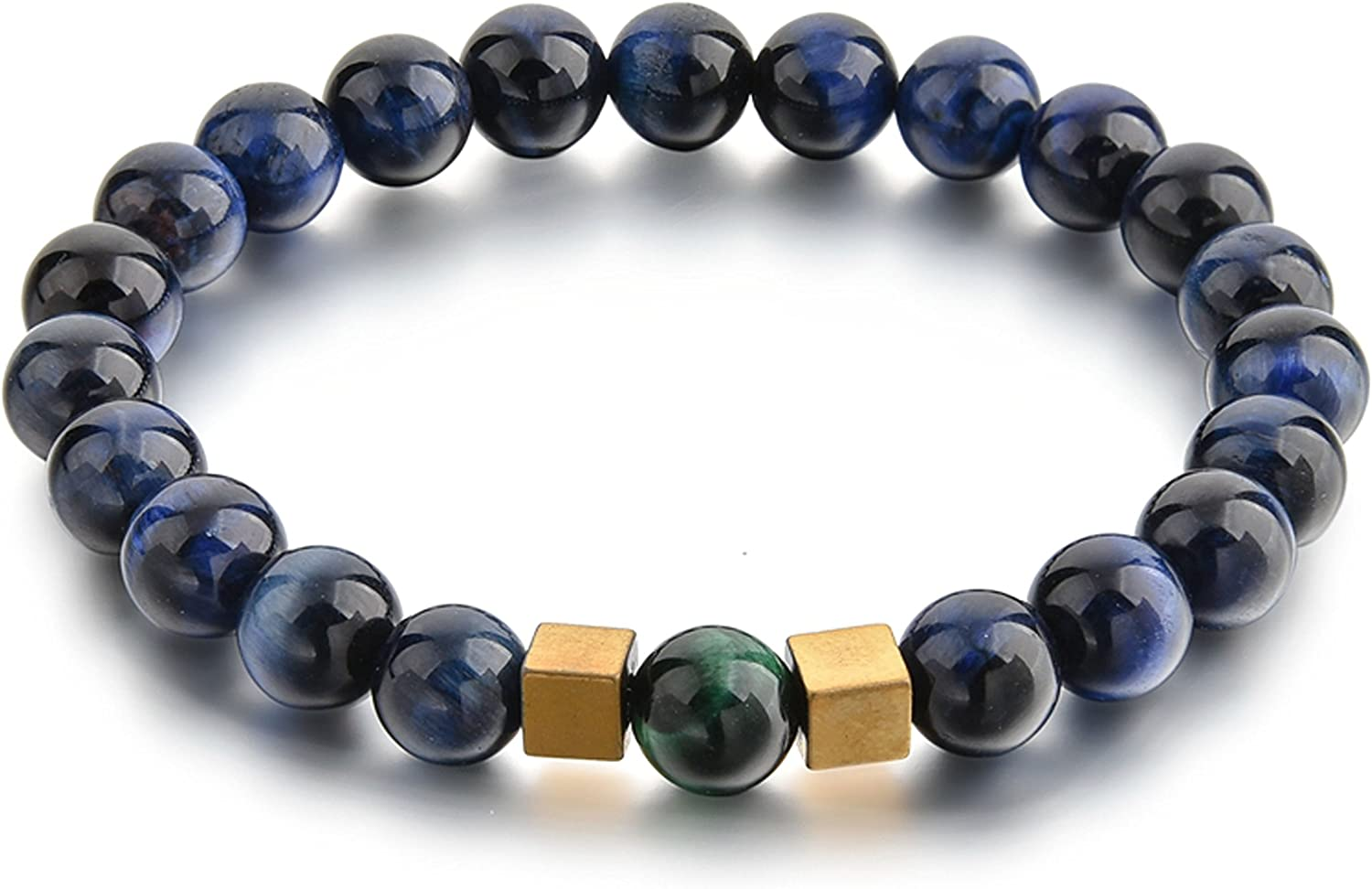 Ino Chakra Protection & Healing Beaded Bracelets for Men and Women - Clear Quartz, Lapis Lazuli, Tiger Eye, Black Onyx, and Buddha Head