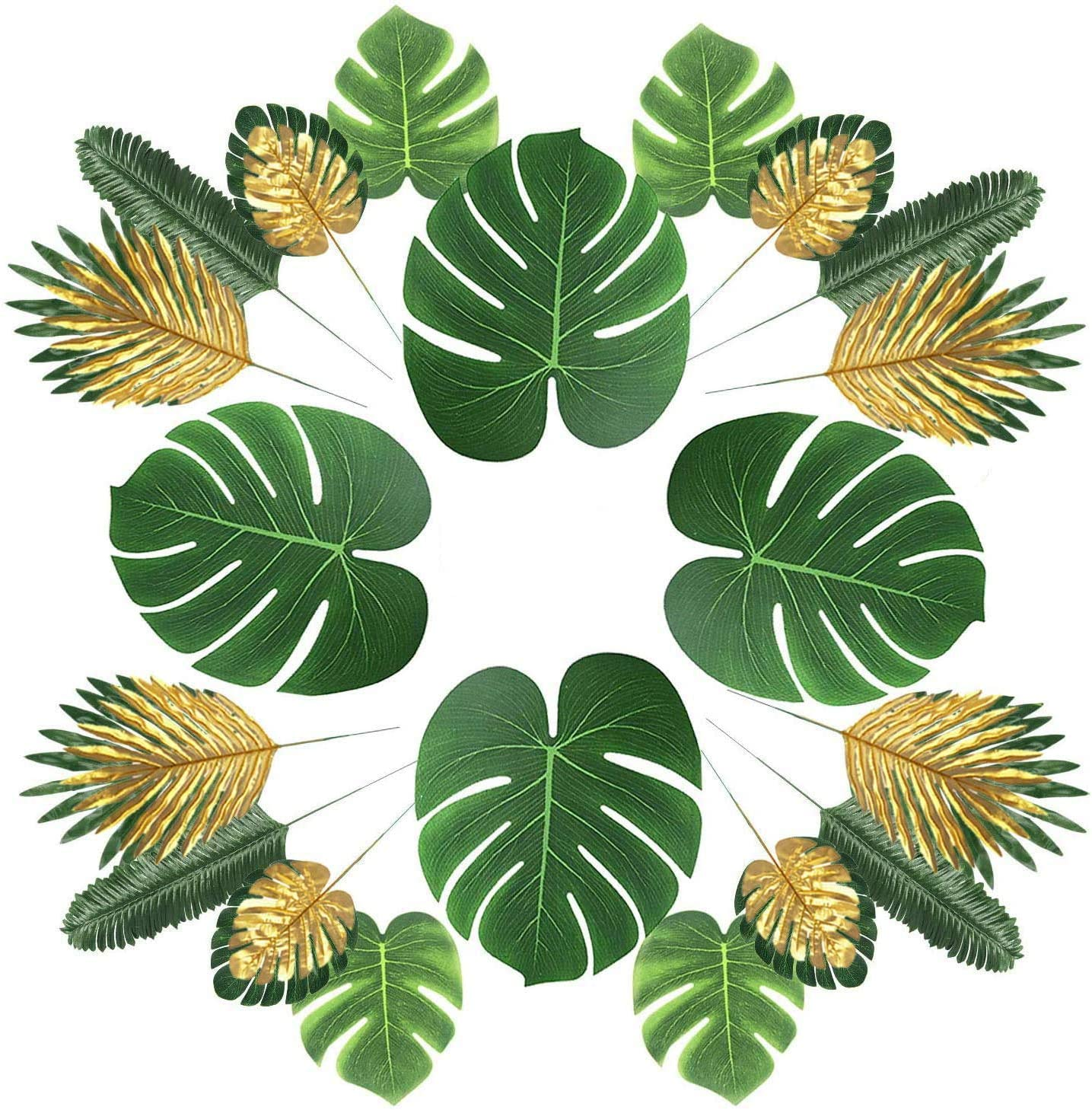 MAXZONE 66 Pieces 6 Kinds Artificial Palm Leaves with Faux Monstera Leaves Stems Tropical Plant Simulation Safari Leaves for Hawaiian Luau Party Jungle Beach Theme Party Table Leave Decorations