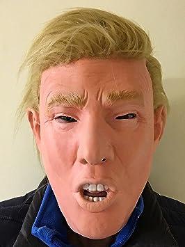 EU PRESIDENT DONALD TRUMP Máscara deluxe con cabello real látex en la parte de arriba EUA