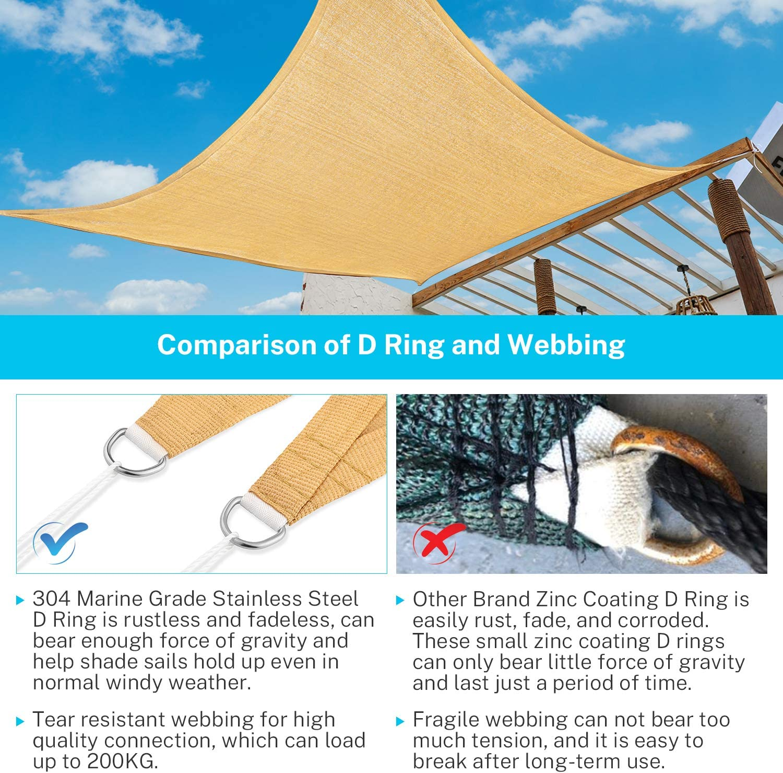 Sunkorto Tenda a Vela Parasole Triangolo Tenda da Sole per Esterno Resistente Protezione UV 97/% Corda in PE per Giardino Cortile Balcone