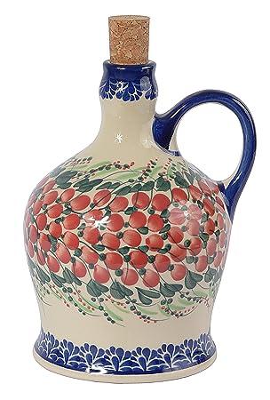 Tradicional polaco Pottery, de cerámica artesanal botella de aceite O vinagre con mango (1000ml