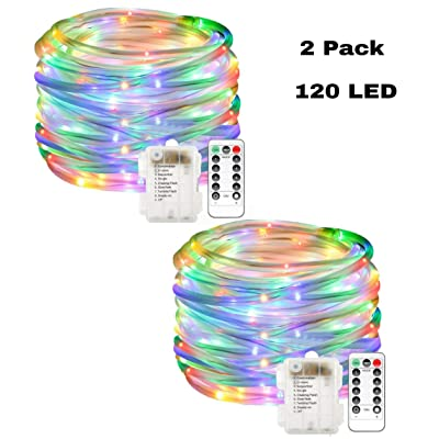 SmilingTown LED Rope Lights 120 LEDs 40 FT Waterproof Battery Powered Tube Fairy Light Strand String with 8 Modes Remote and Timer for Patio Fence Camping Bedroom Christmas Decoration (Multi) : Garden & Outdoor