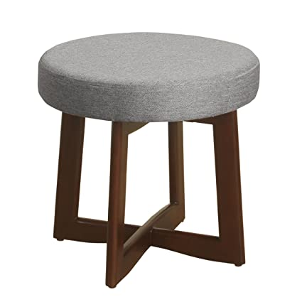 Awesome Homepop Mid Mod Upholstered Round Ottoman Stool With Wood Base Grey Machost Co Dining Chair Design Ideas Machostcouk