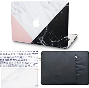 """KECC Laptop Case for MacBook Air 13"""" w/Keyboard Cover + Sleeve + Screen Protector (4 in 1 Bundle) Plastic Hard Shell Case A1466/A1369 (White Marble Pink Black)"""