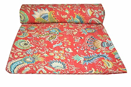 King size Kantha Bed cover Multi Red Kantha Quilt Hand Quilted Throw Blanket Art