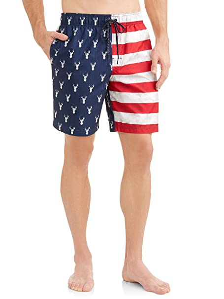 ceaaab786a01b Image Unavailable. Image not available for. Color: George Big and Tall  Men's 5XL Patriotic Deer Camo Swim Trunks
