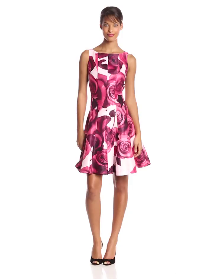 Julian Taylor Women's Sleeveless Floral Print Fit and Flare Dress, Rose, 14