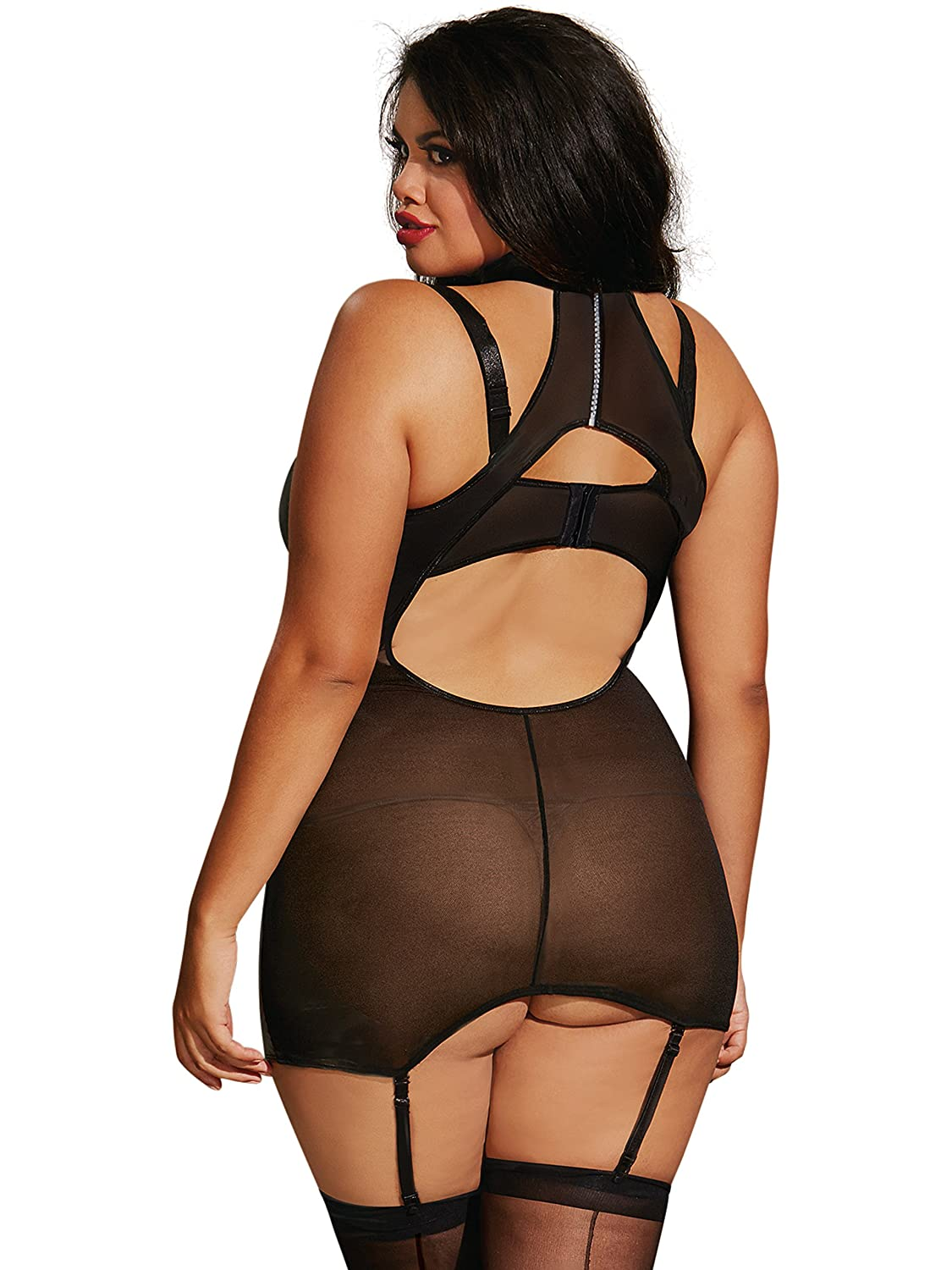 12cc45155 DreamGirl Womens Plus Size Faux-Leather and Lace Garter Slip Lingerie Set   Amazon.ca  Clothing   Accessories