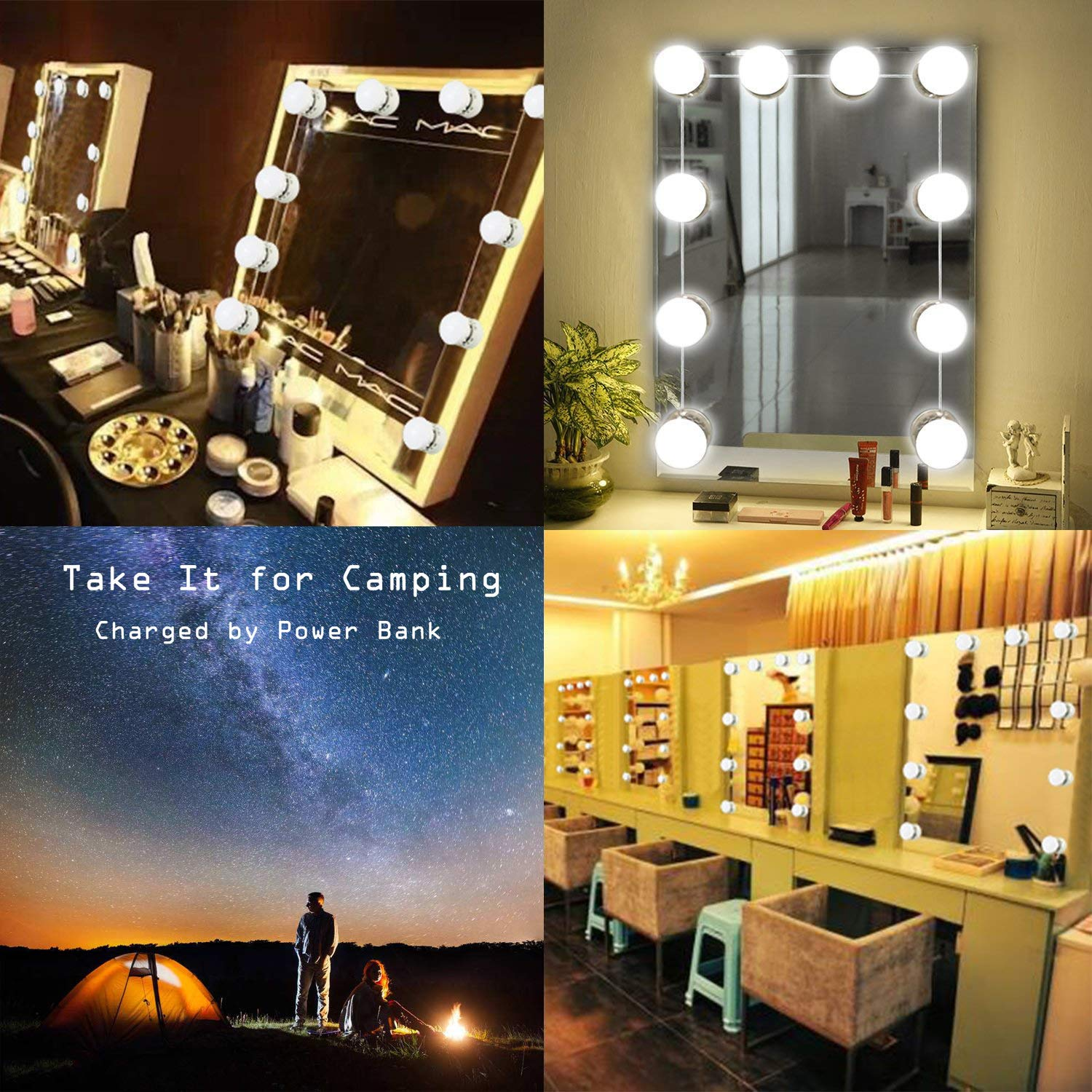 [2018 Upgraded] Vanity Mirror Lights,Moonnight Hollywood Style LED Makeup Mirror Lights,Hidden Rotating Wire,from 3500K to 6500K Warm and Cold Lights Dimmable Bulbs with USB Support.
