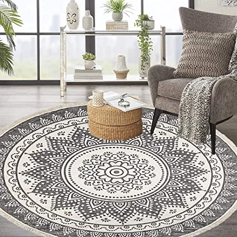 Amazon Com Hebe 6 Ft Large Cotton Round Area Rugs Machine Washable Chic Bohemian Mandala Printed Tassel Cotton Rug Woven Throw Rug Carpet For Bedroom Living Room Kitchen Dining