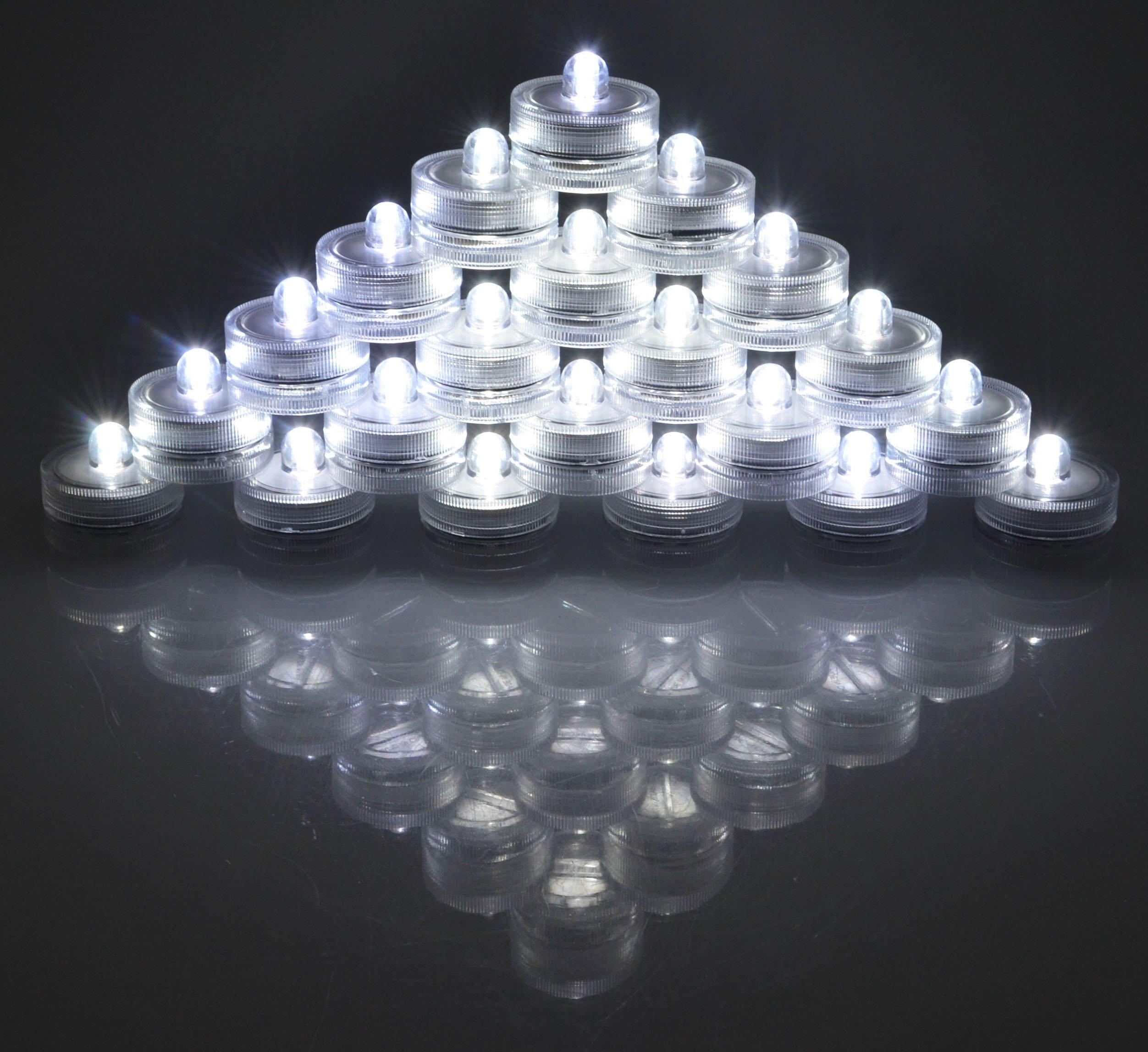Samyo Set of 36 Waterproof Wedding Submersible Battery LED Tea Lights Underwater Sub Lights- Wedding Centerpieces Party Decorate (White) by Samyo (Image #1)