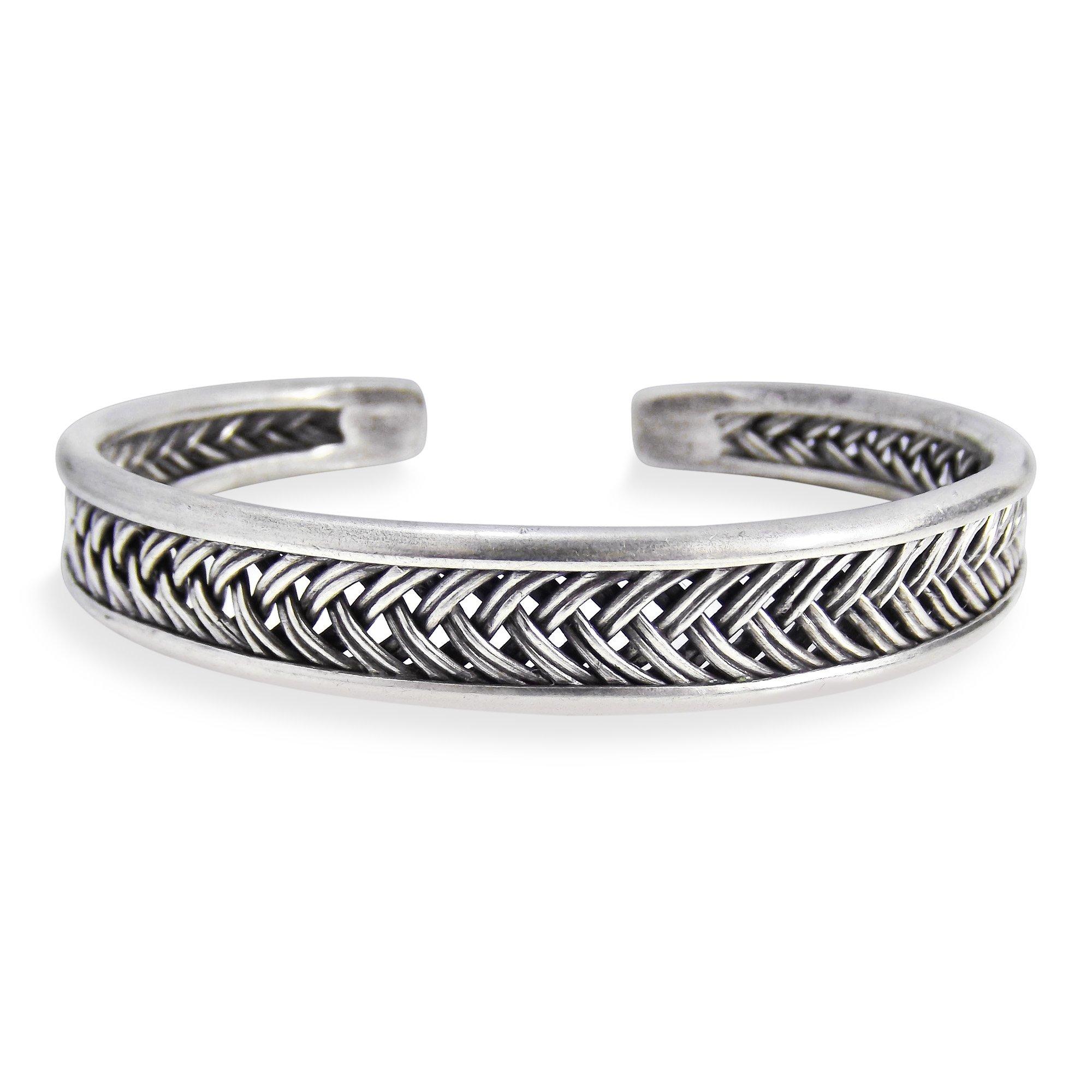 AeraVida Braided Thai Karen Hill Tribe Fine Silver Handmade Cuff Bracelet