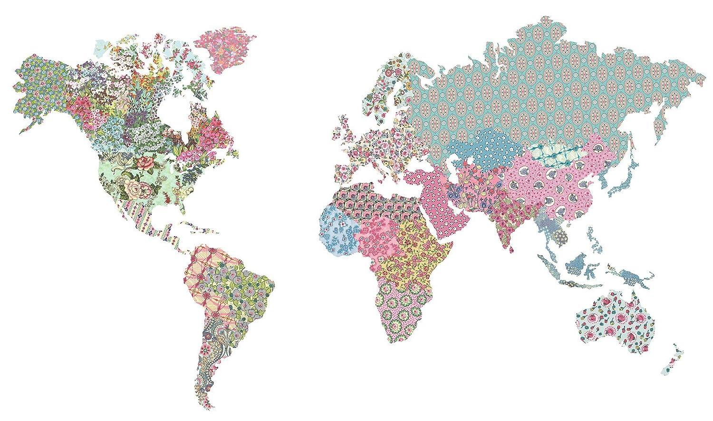 Brewster Home Boho World Map Giant Wall Art Kit