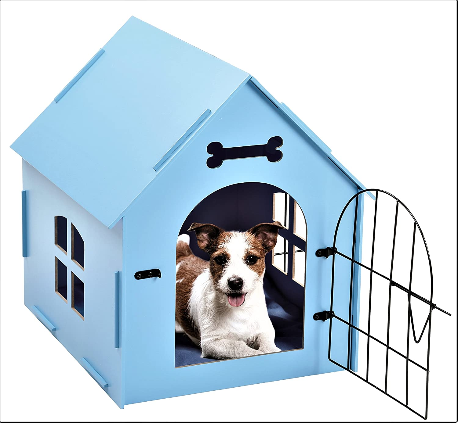 Tristar Products Us Craft Wood Dog House With Door And Window Indoor Kennel For Small Dogs Cats Pet With Bed Mat Blue Amazon Co Uk Pet Supplies